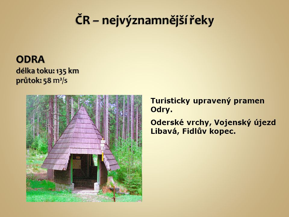 ČR – nejvýznamnější řeky