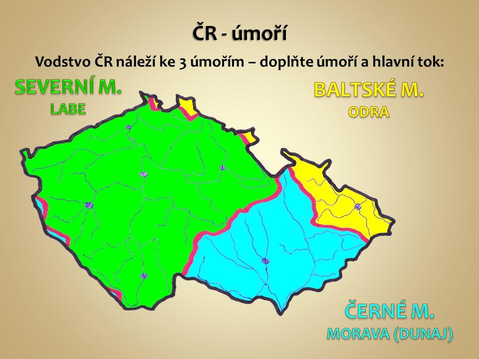Vodstvo ČR náleží ke 3 úmořím – doplňte úmoří a hlavní tok: