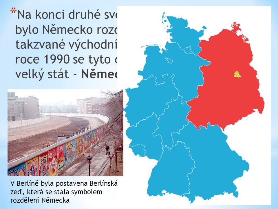 Na konci druhé světové války (v roce 1945) bylo Německo rozděleno na dva státy: na takzvané východní a západní Německo. V roce 1990 se tyto dva státy spojily v jeden velký stát - Německo