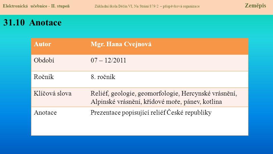 31.10 Anotace Autor Mgr. Hana Cvejnová Období 07 – 12/2011 Ročník