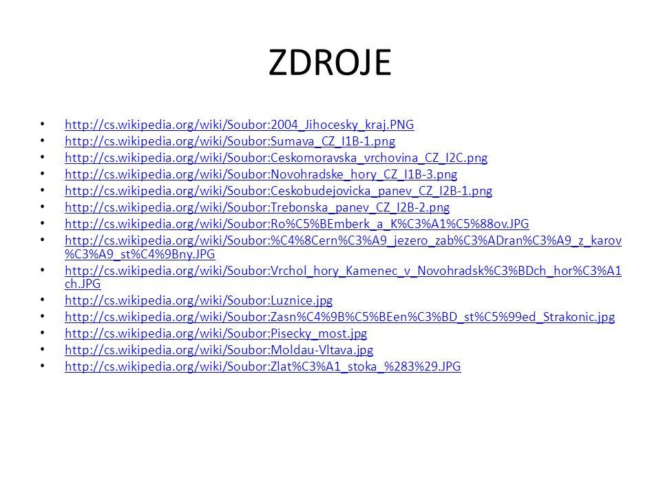 ZDROJE http://cs.wikipedia.org/wiki/Soubor:2004_Jihocesky_kraj.PNG