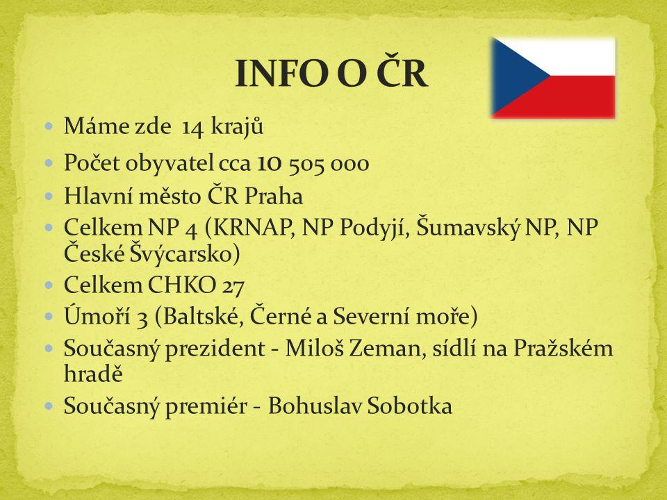 INFO O ČR Máme zde 14 krajů Počet obyvatel cca 10 505 000