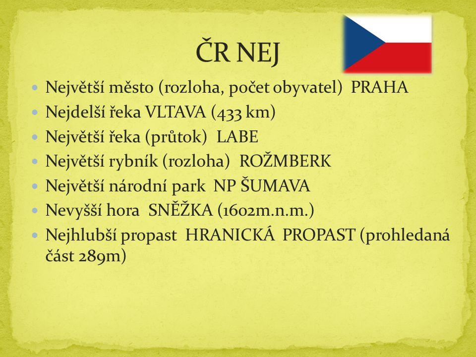 ČR NEJ Největší město (rozloha, počet obyvatel) PRAHA