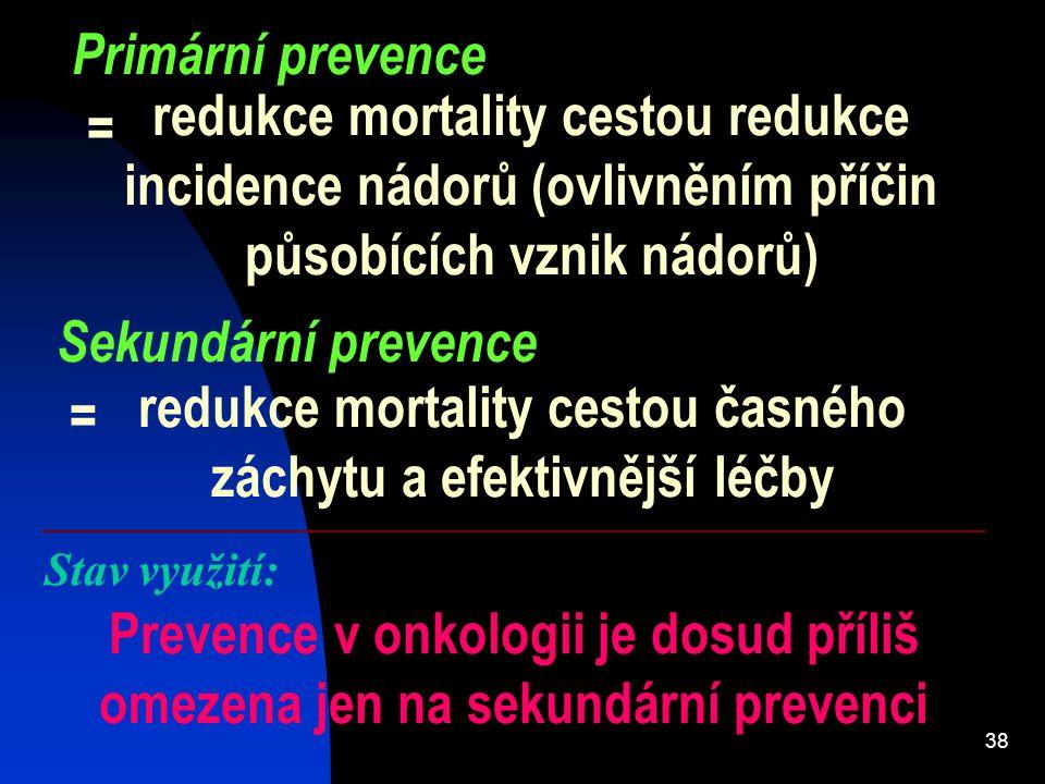 redukce mortality cestou časného záchytu a efektivnější léčby