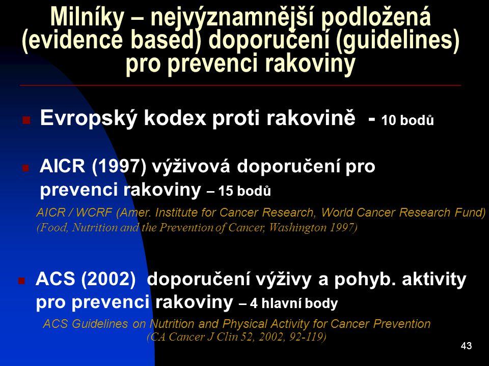 Milníky – nejvýznamnější podložená (evidence based) doporučení (guidelines) pro prevenci rakoviny