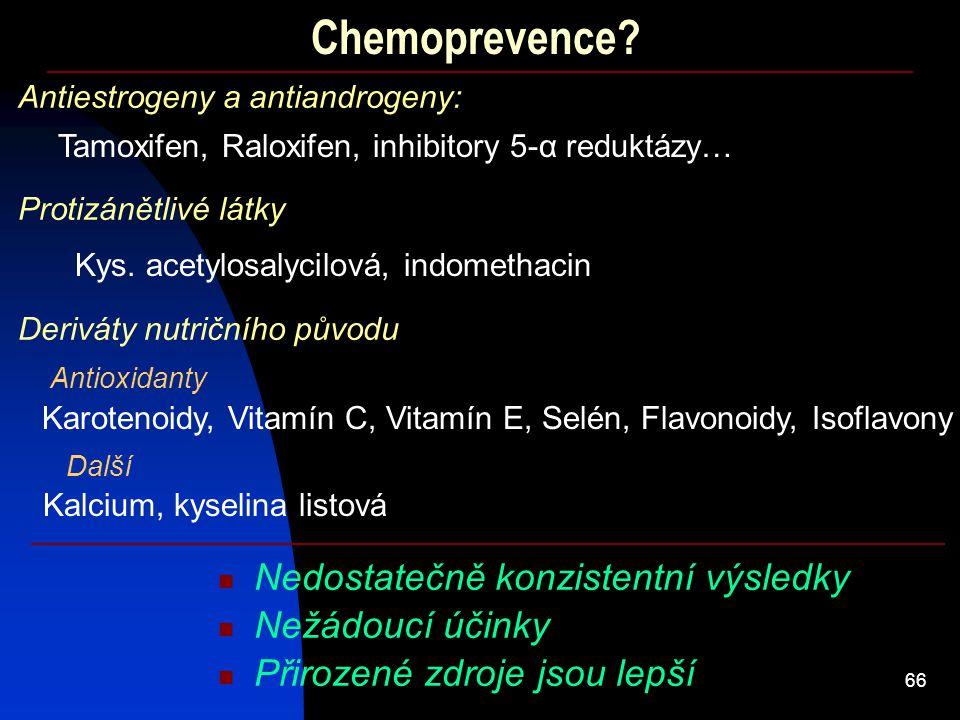 Chemoprevence Nedostatečně konzistentní výsledky Nežádoucí účinky
