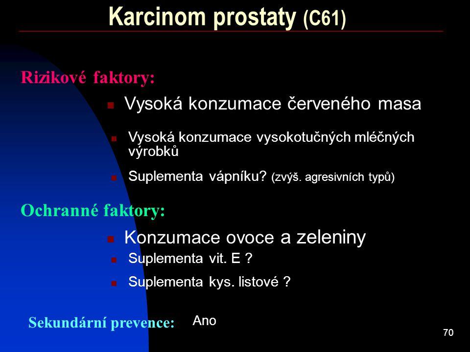 Karcinom prostaty (C61) Rizikové faktory: