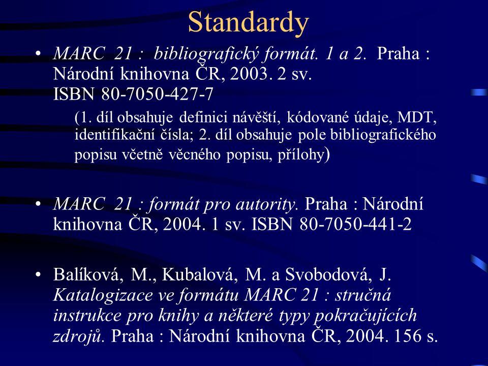 Standardy MARC 21 : bibliografický formát. 1 a 2. Praha : Národní knihovna ČR, 2003. 2 sv. ISBN 80-7050-427-7.