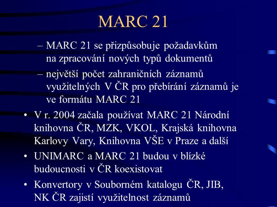 MARC 21 7.4.2017. MARC 21 se přizpůsobuje požadavkům na zpracování nových typů dokumentů.