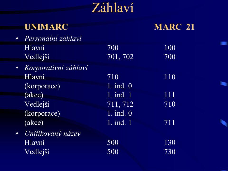 Záhlaví UNIMARC MARC 21.