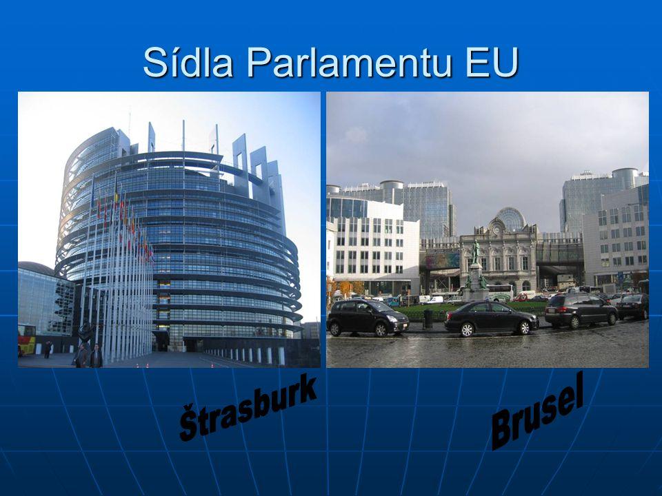 Sídla Parlamentu EU Štrasburk Brusel
