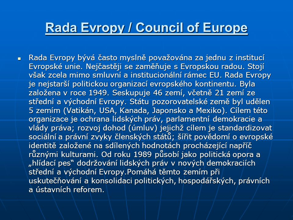 Rada Evropy / Council of Europe