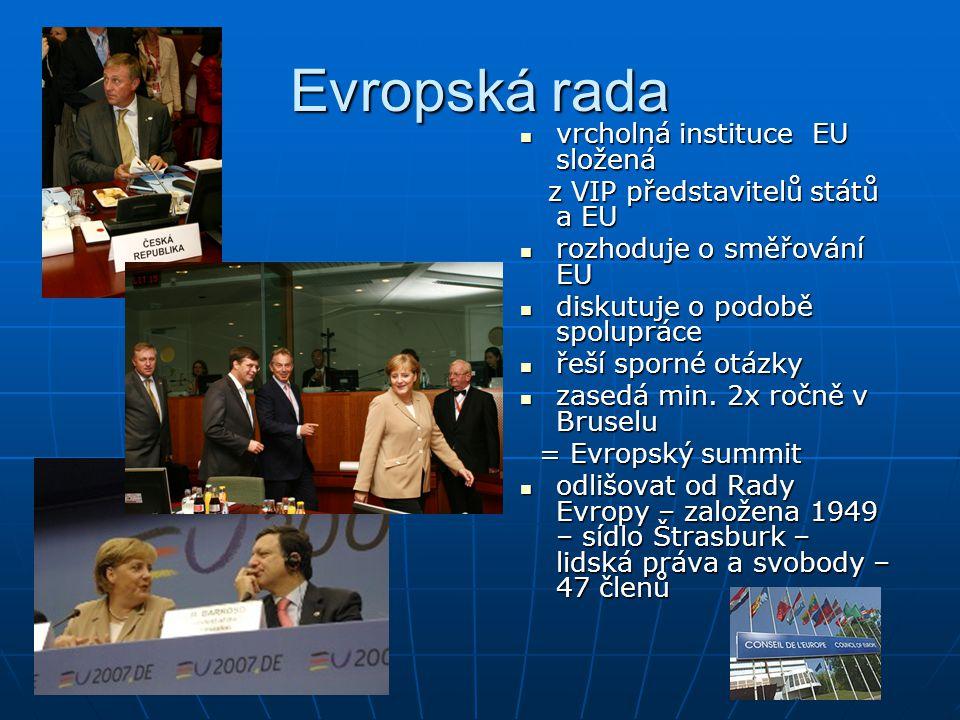 Evropská rada vrcholná instituce EU složená