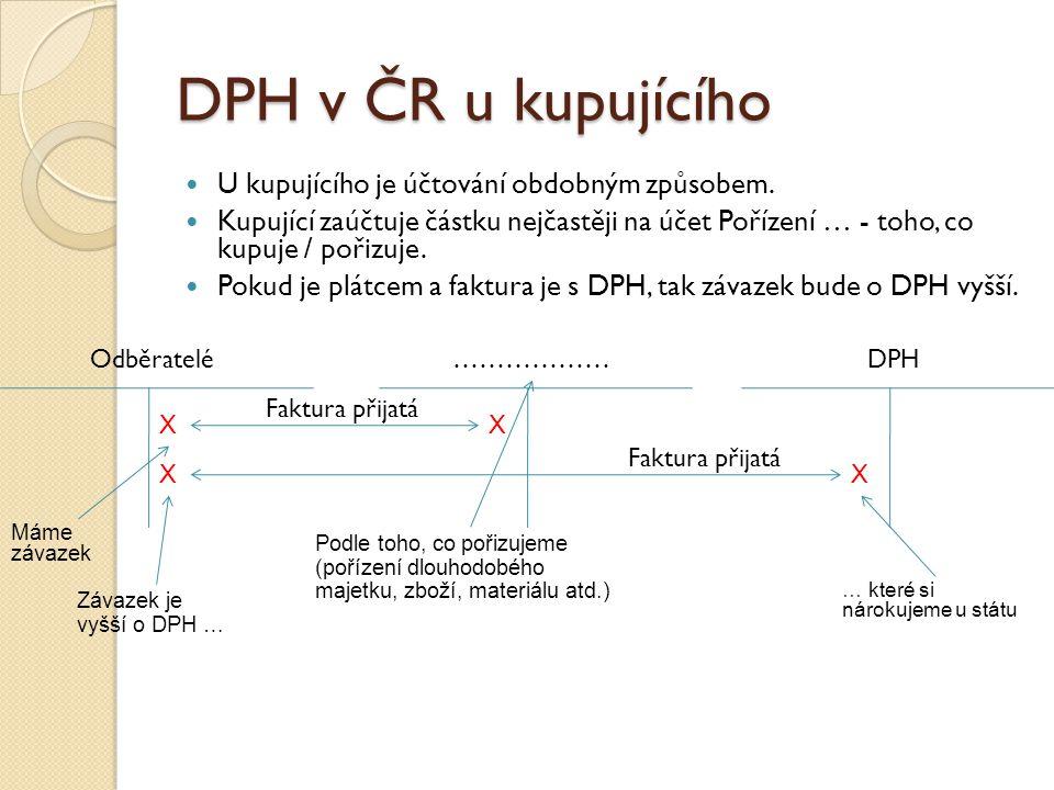 DPH v ČR u kupujícího U kupujícího je účtování obdobným způsobem.