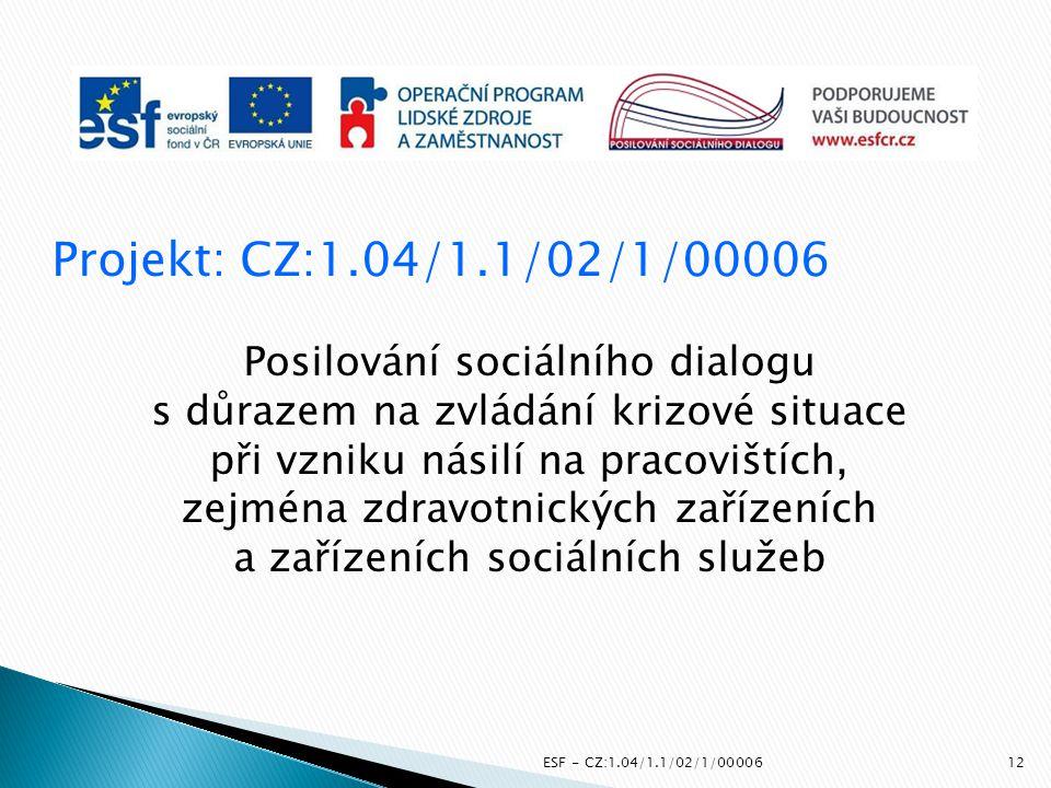 Projekt: CZ:1.04/1.1/02/1/00006 Posilování sociálního dialogu