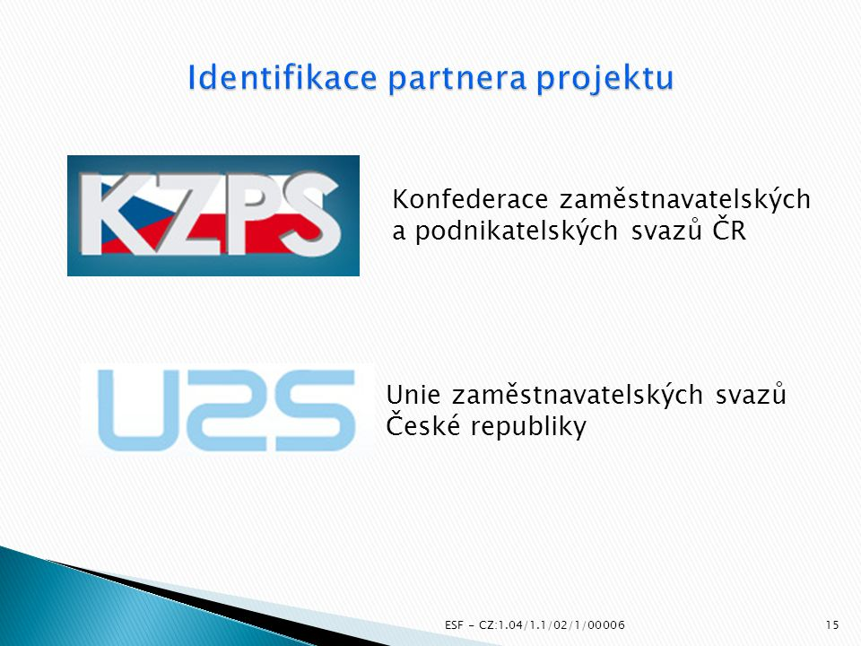Identifikace partnera projektu