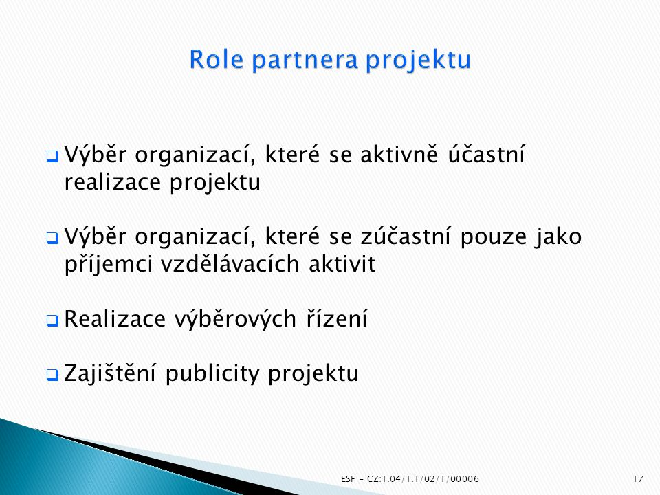 Role partnera projektu