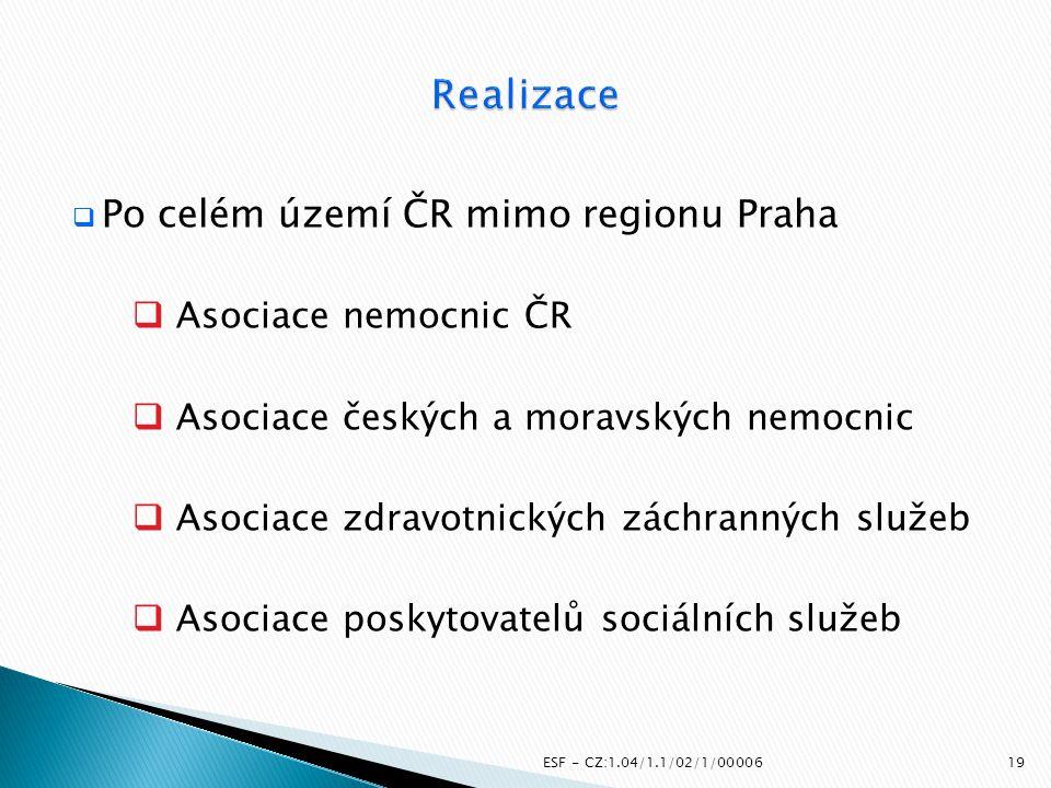 Realizace Po celém území ČR mimo regionu Praha Asociace nemocnic ČR