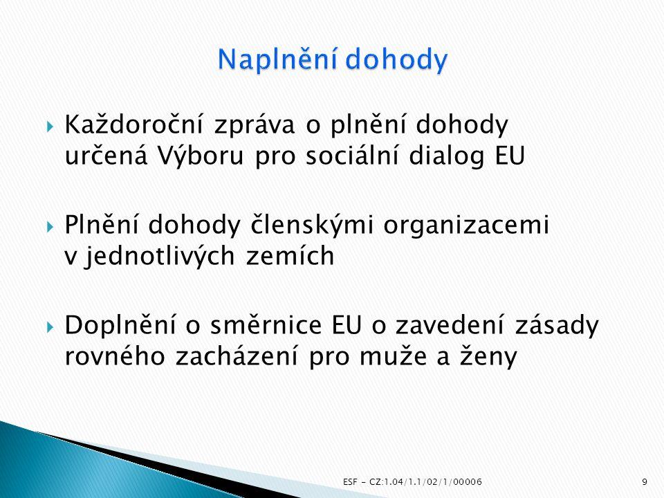 Naplnění dohody Každoroční zpráva o plnění dohody určená Výboru pro sociální dialog EU. Plnění dohody členskými organizacemi v jednotlivých zemích.