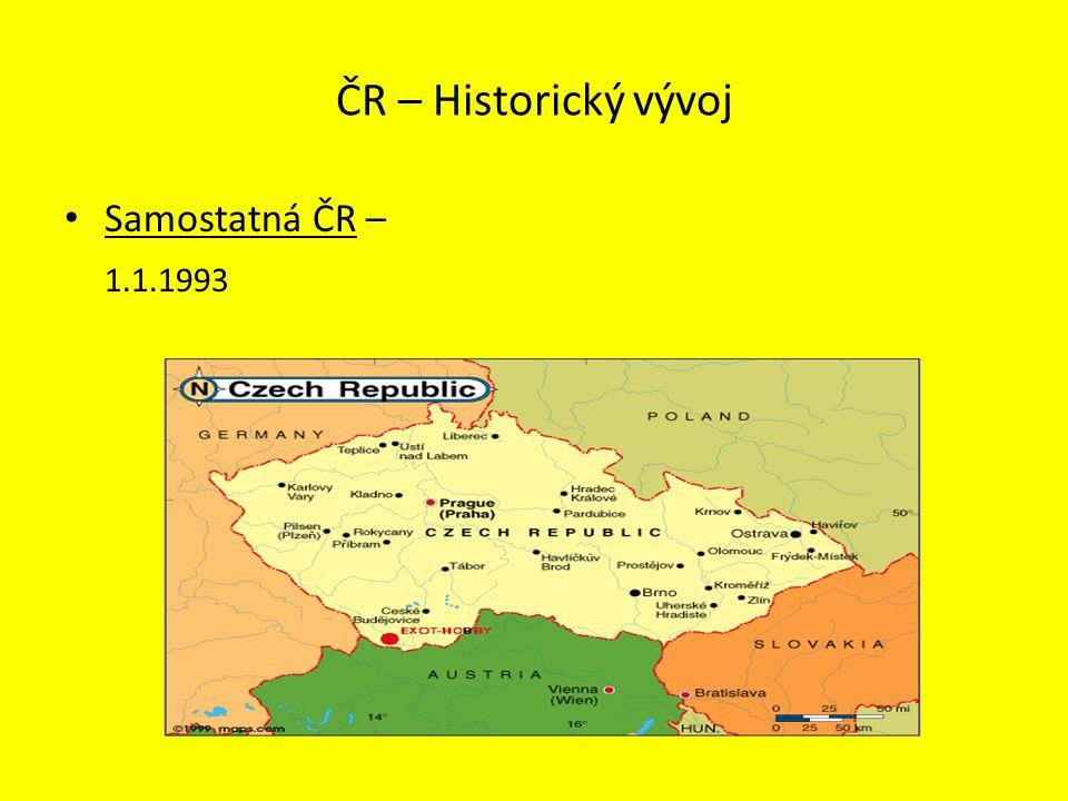 ČR – Historický vývoj Samostatná ČR – 1.1.1993