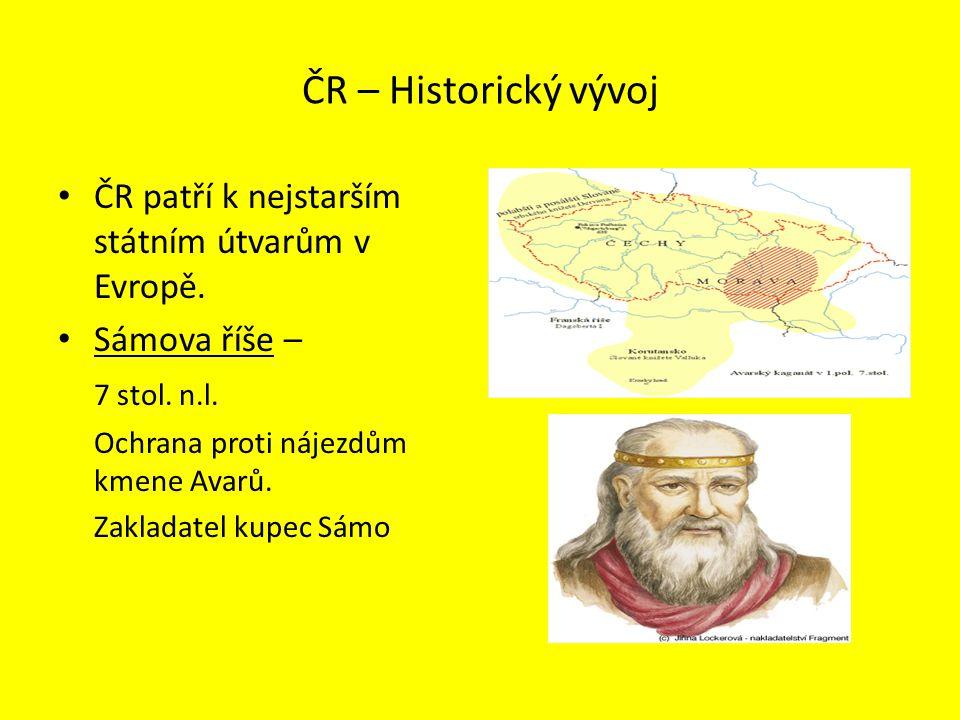 ČR – Historický vývoj ČR patří k nejstarším státním útvarům v Evropě.