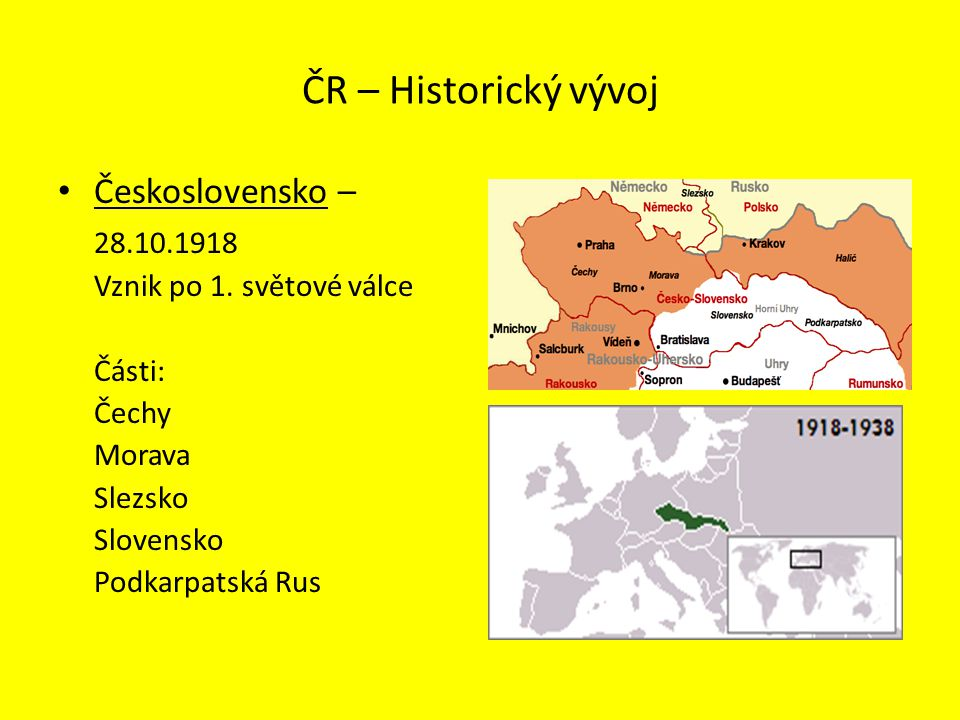 ČR – Historický vývoj Československo – 28.10.1918