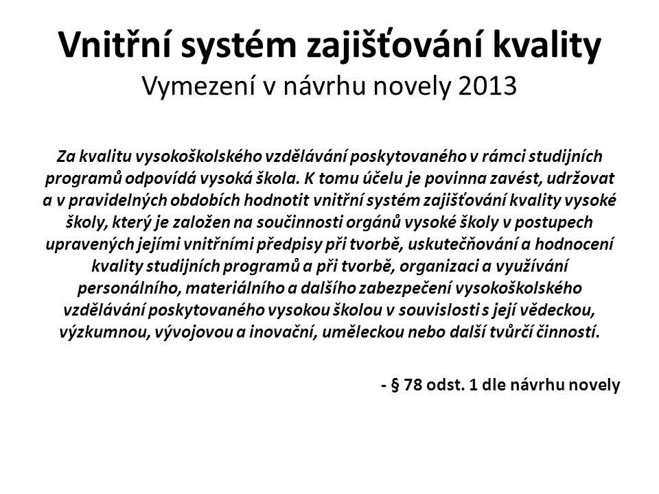 Vnitřní systém zajišťování kvality Vymezení v návrhu novely 2013