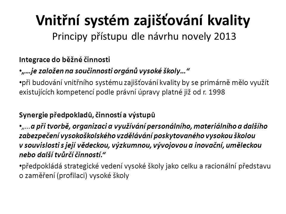 Vnitřní systém zajišťování kvality Principy přístupu dle návrhu novely 2013