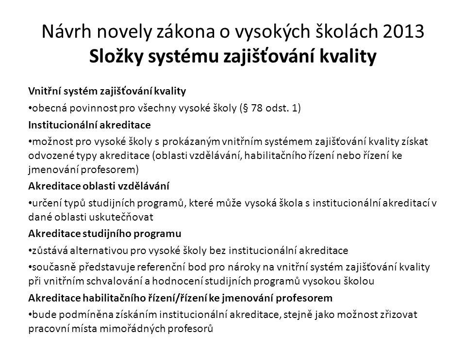 Návrh novely zákona o vysokých školách 2013 Složky systému zajišťování kvality