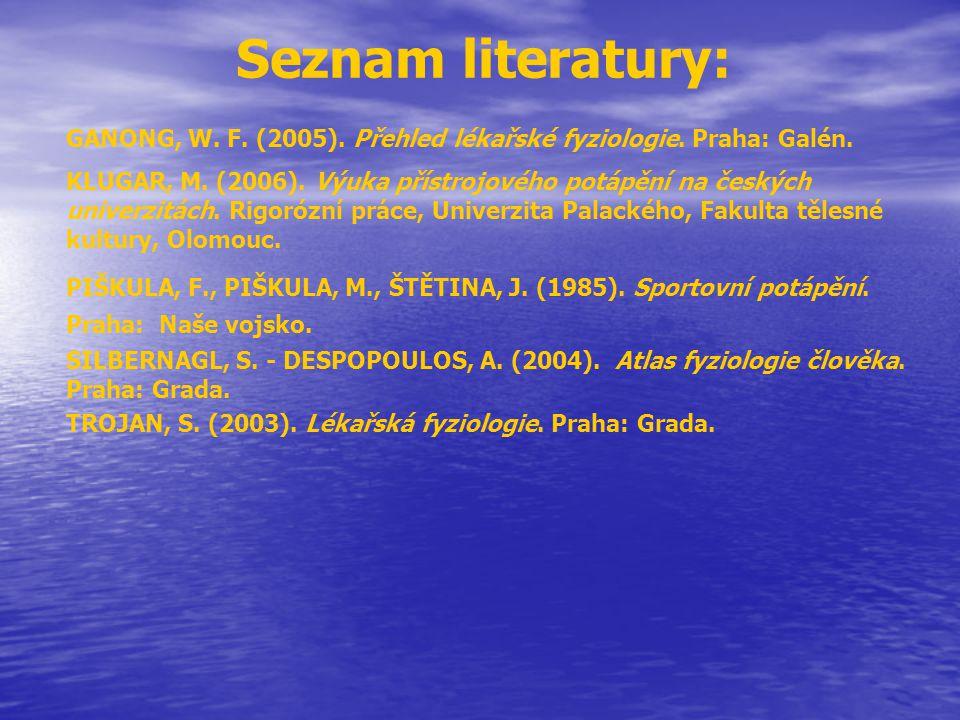 Seznam literatury: GANONG, W. F. (2005). Přehled lékařské fyziologie. Praha: Galén.