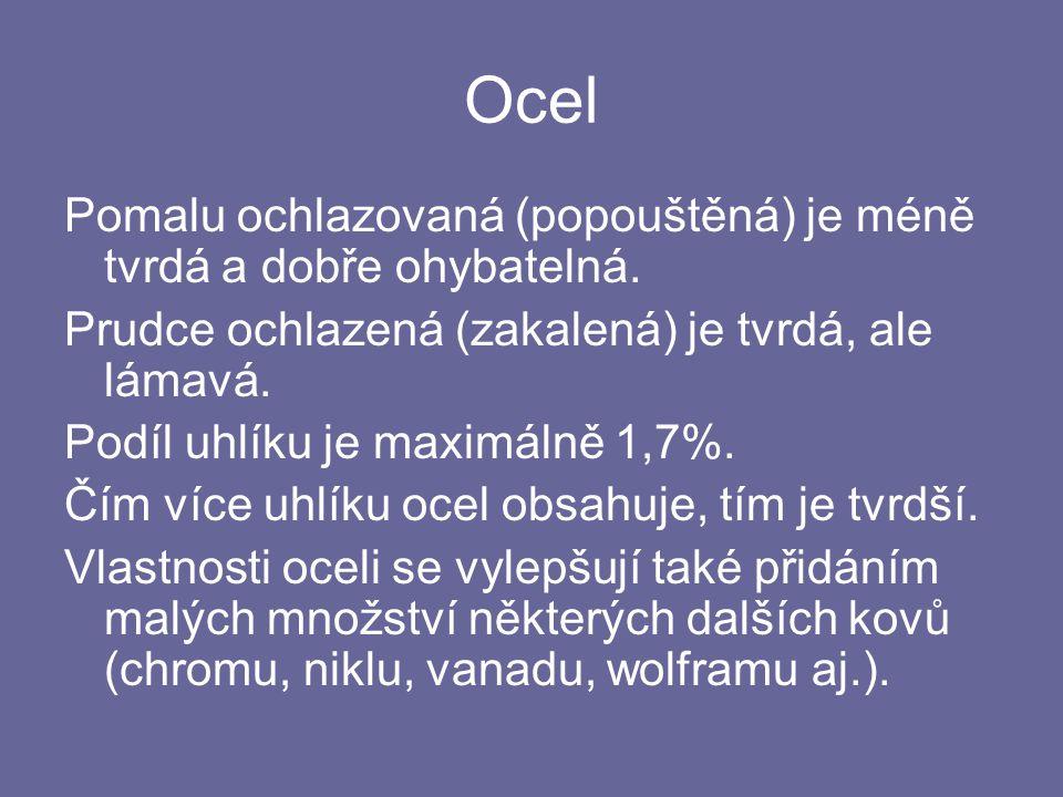 Ocel Pomalu ochlazovaná (popouštěná) je méně tvrdá a dobře ohybatelná.