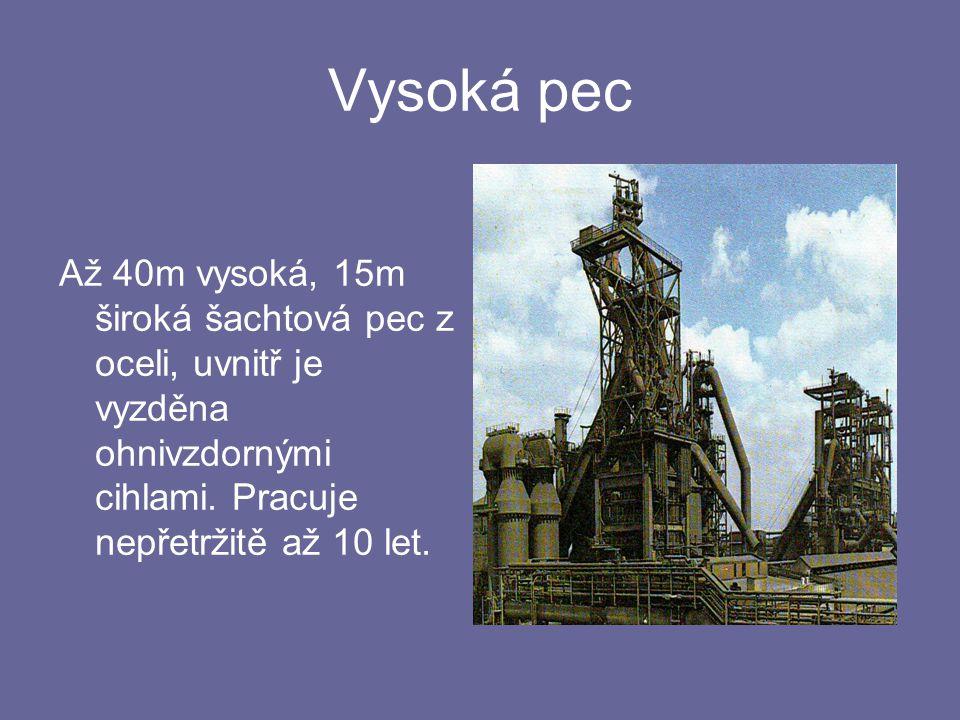 Vysoká pec Až 40m vysoká, 15m široká šachtová pec z oceli, uvnitř je vyzděna ohnivzdornými cihlami.