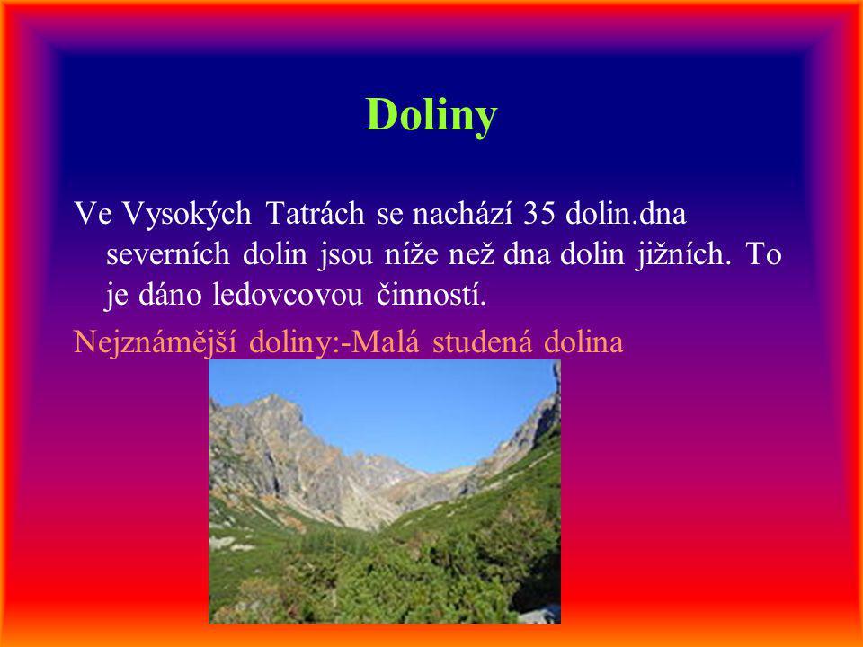 Doliny Ve Vysokých Tatrách se nachází 35 dolin.dna severních dolin jsou níže než dna dolin jižních. To je dáno ledovcovou činností.