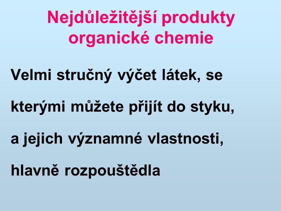 Nejdůležitější produkty organické chemie