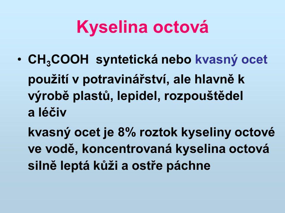 Kyselina octová CH3COOH syntetická nebo kvasný ocet