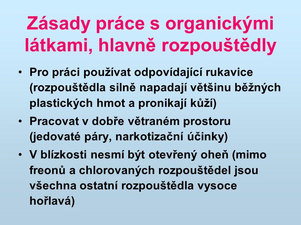 Zásady práce s organickými látkami, hlavně rozpouštědly