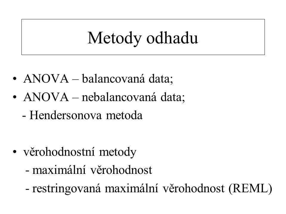 Metody odhadu ANOVA – balancovaná data; ANOVA – nebalancovaná data;