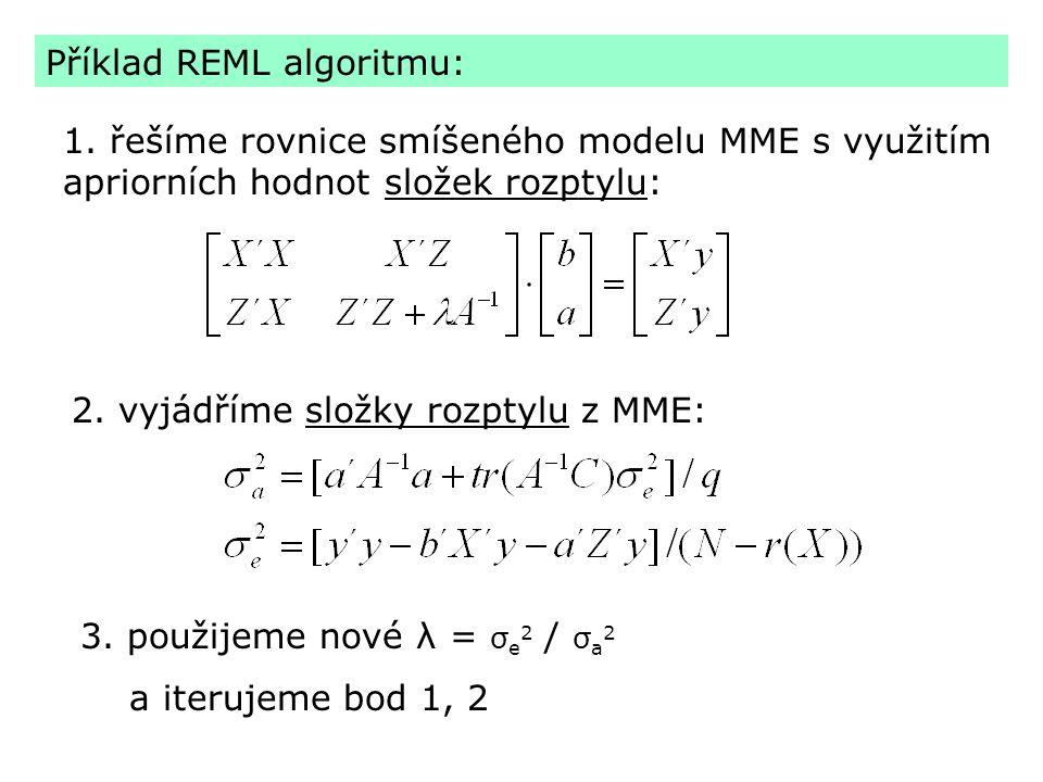 Příklad REML algoritmu: