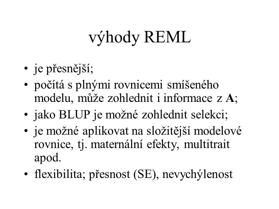 výhody REML je přesnější;