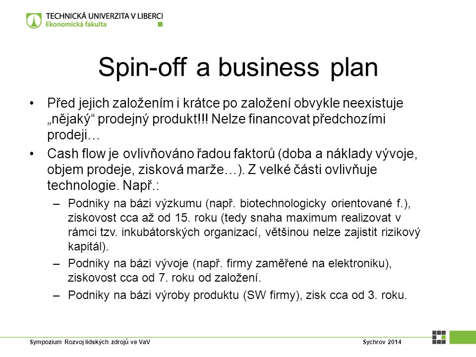 Spin-off a business plan
