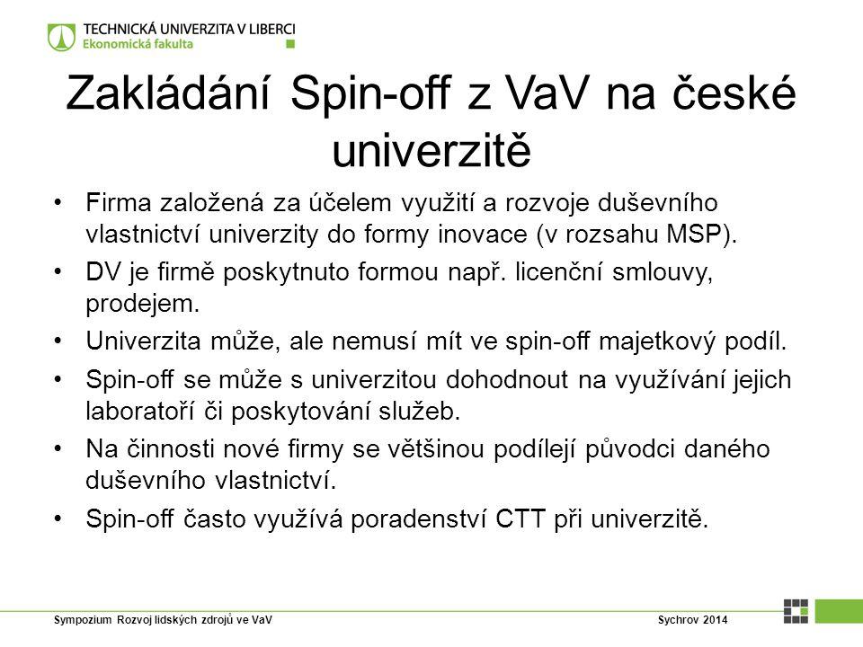 Zakládání Spin-off z VaV na české univerzitě