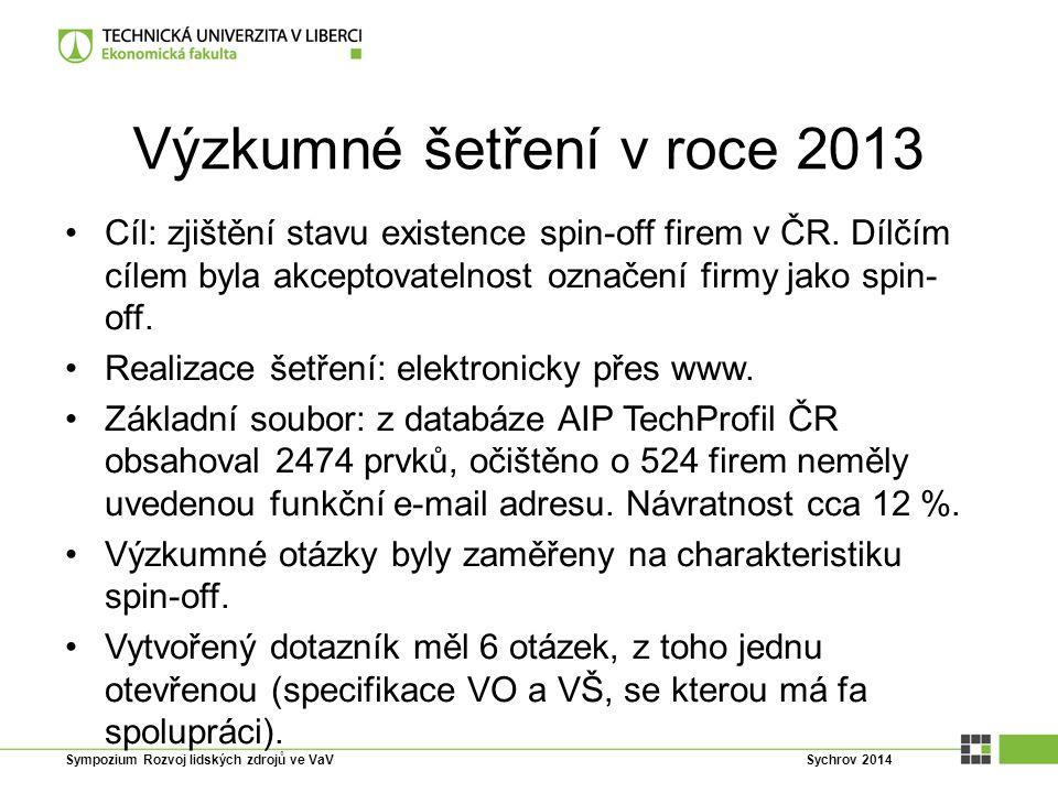 Výzkumné šetření v roce 2013