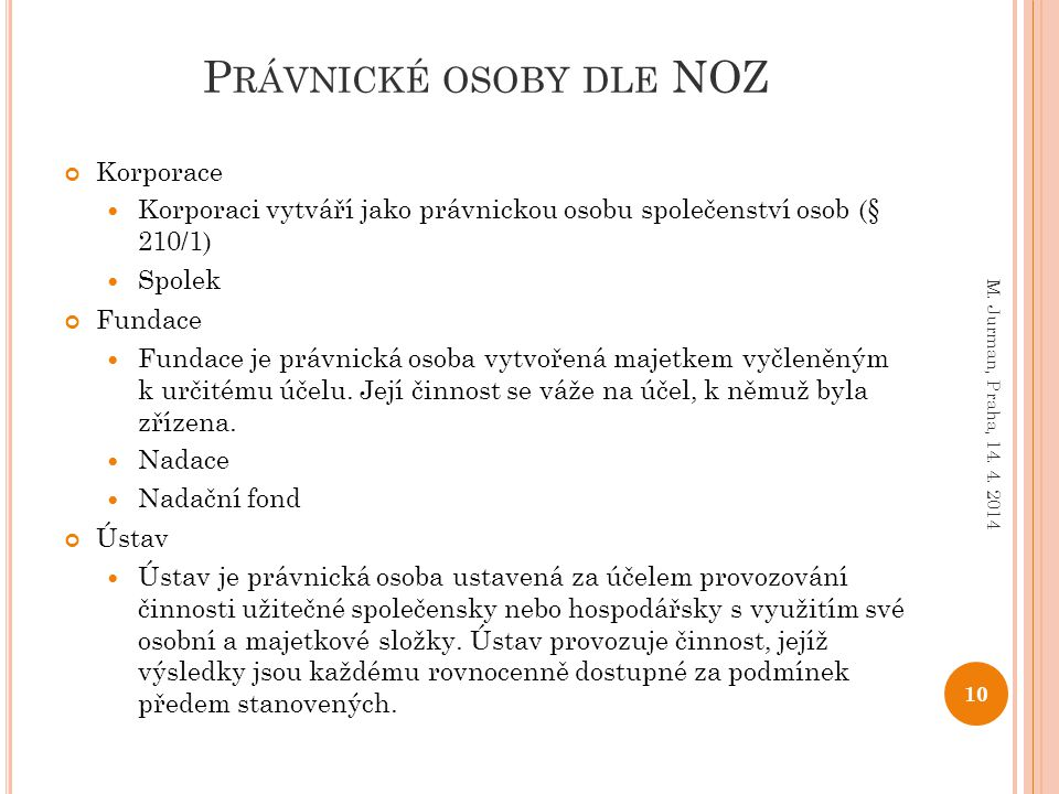 Právnické osoby dle NOZ
