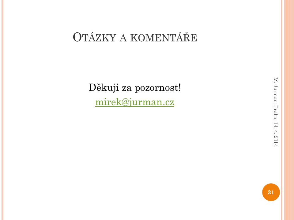 Děkuji za pozornost! mirek@jurman.cz