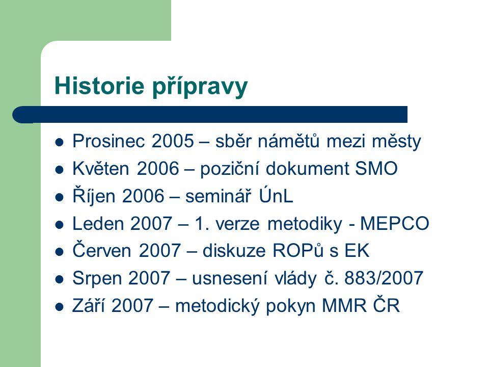 Historie přípravy Prosinec 2005 – sběr námětů mezi městy