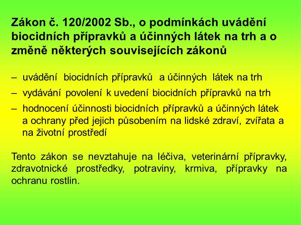 Zákon č. 120/2002 Sb., o podmínkách uvádění biocidních přípravků a účinných látek na trh a o změně některých souvisejících zákonů