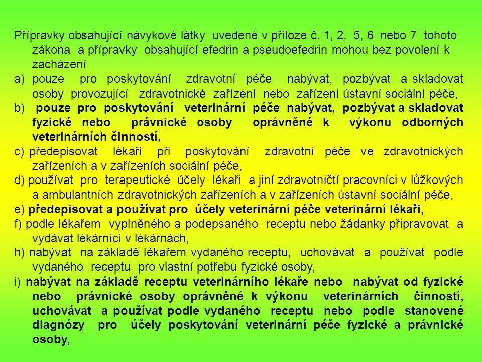 Přípravky obsahující návykové látky uvedené v příloze č