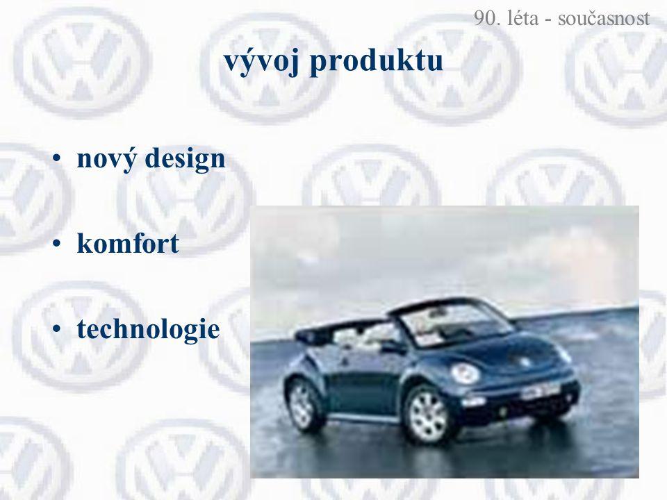 90. léta - současnost vývoj produktu nový design komfort technologie
