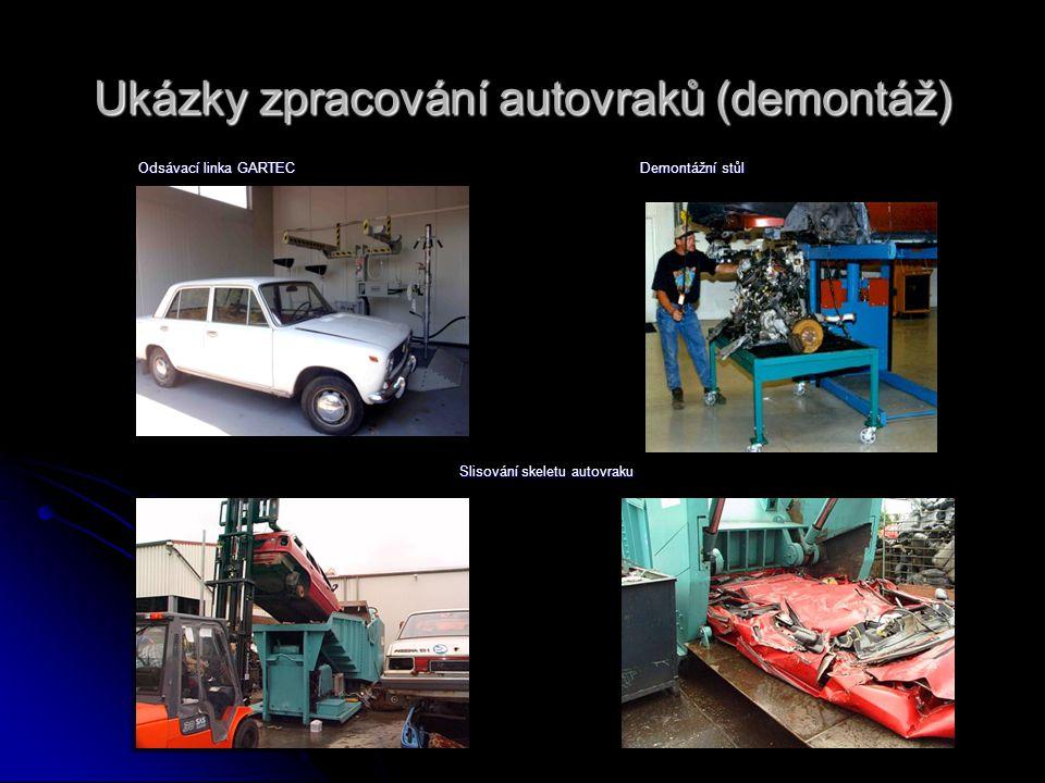 Ukázky zpracování autovraků (demontáž)