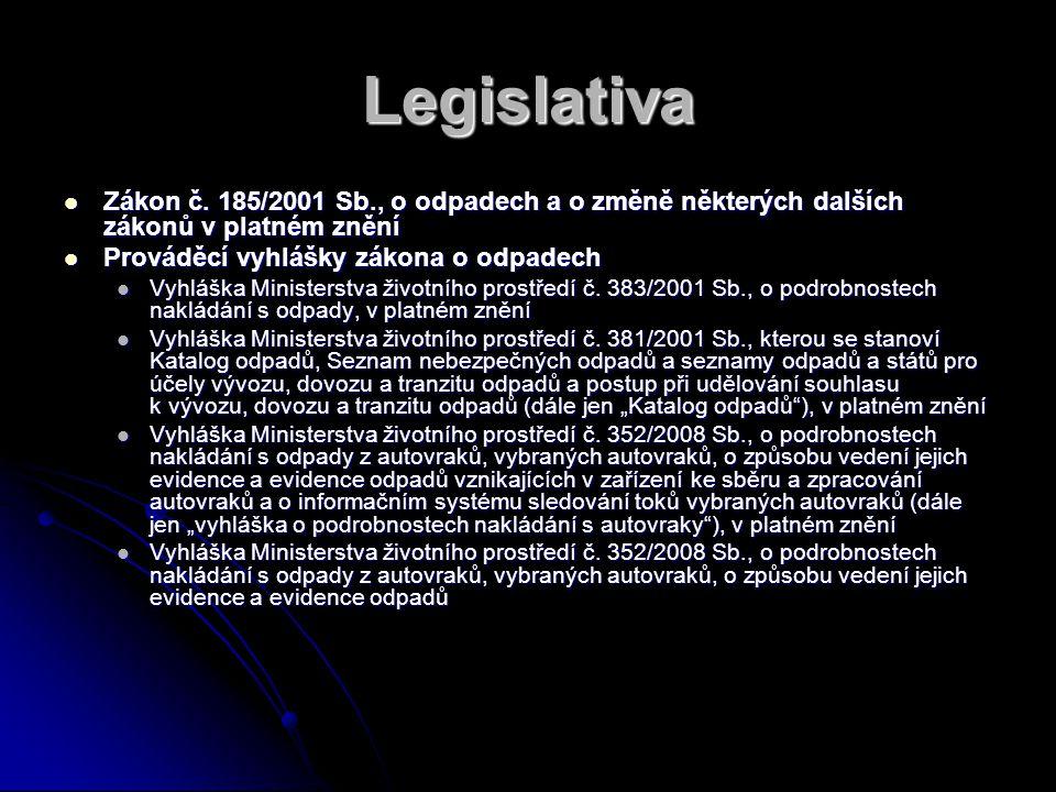 Legislativa Zákon č. 185/2001 Sb., o odpadech a o změně některých dalších zákonů v platném znění. Prováděcí vyhlášky zákona o odpadech.